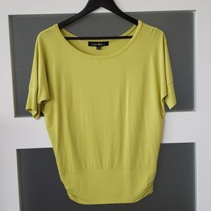 Lida Baday T shirt size S lime green NWOT